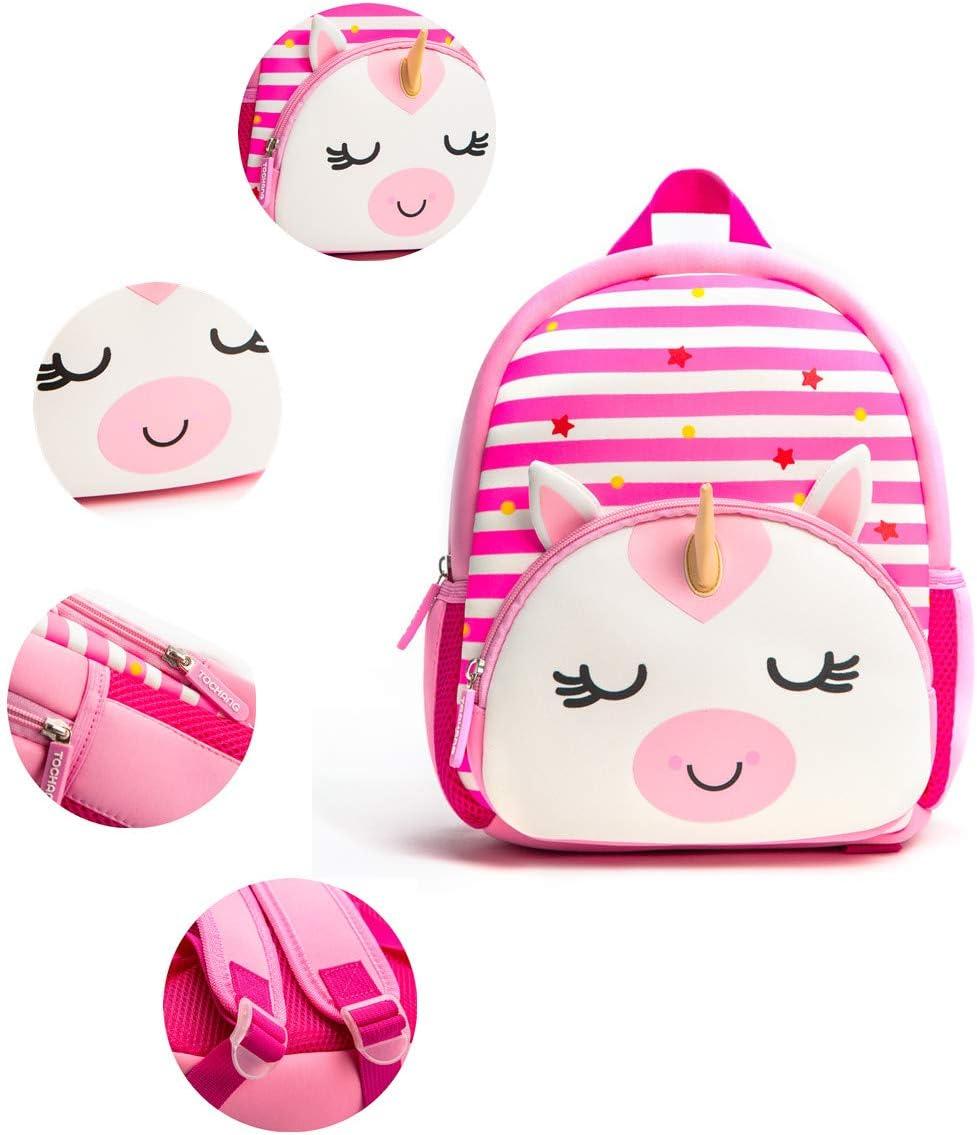 Pink Owl Neoprene Toddler Backpack Waterproof Animal Cartoon Mini Travel Bag for Little Girl Boy 1-6 Years