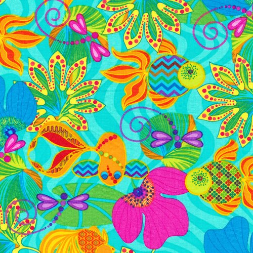 1-yard-calypso-goldfish-by-ro-gregg-from-paintbrush-studios-100-cotton-quilt-fabric-120-0151-floral-