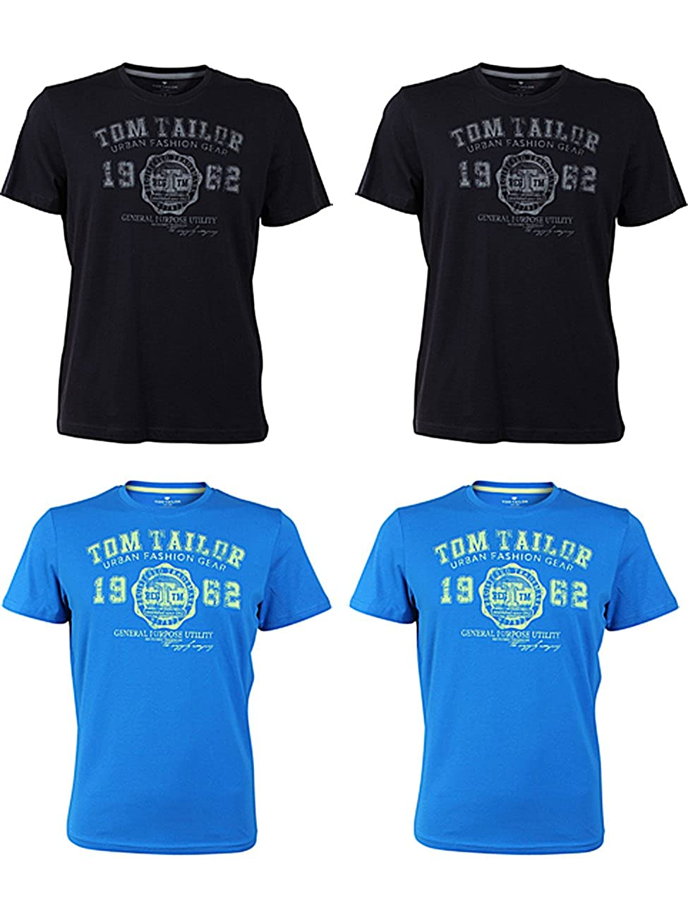 TOM TAILOR Herren Rundhals T-Shirt Logo Tee Basic - 4er Pack B0792RCN1Q T-Shirts Reichhaltiges Design