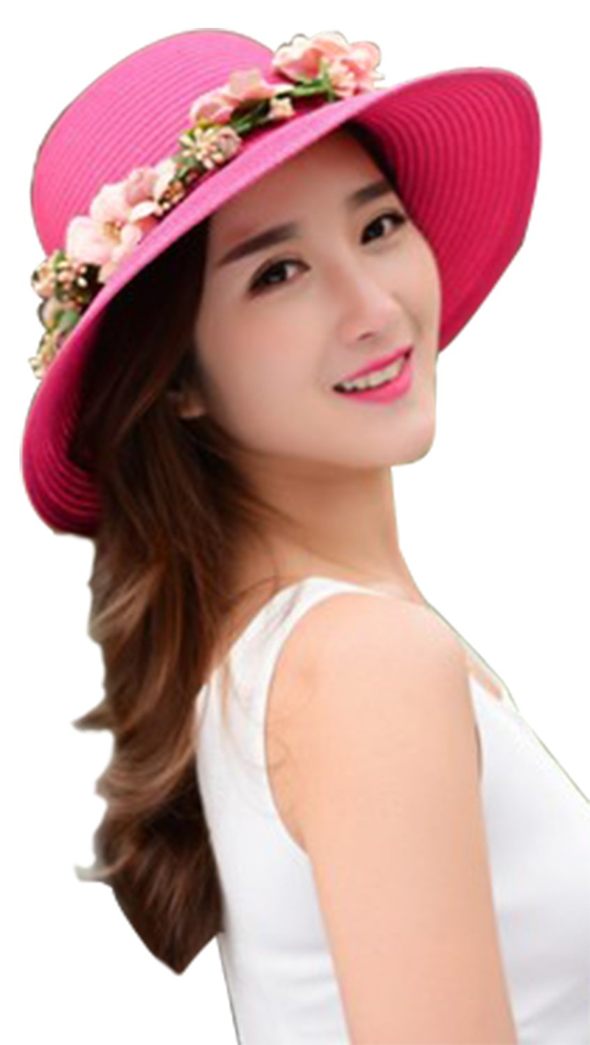 Lovful Girls Spring Summer Casual Straw Hats Floral Décor Travel Packable Sun Visor Bucket Cap with Chin Strap, Fuchsia
