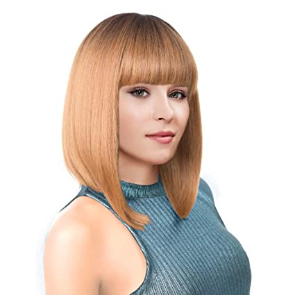 Kalyss Short Ombre Honey Blonde 2 Tones Black To Blonde Bob Wigs With Hair Bangs Heat Resistant Yaki Synthetic Straight Full Head Hair Replacement Wig