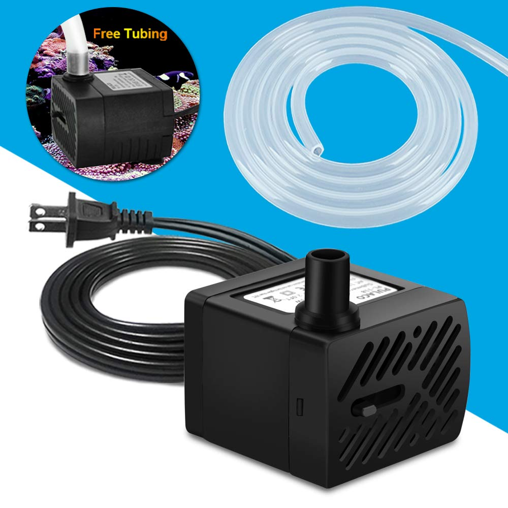 PULACO 50GPH 3Watt Mini Submersible Water Pump for Aquarium Fish Tank, Pond, Fountain, Hydroponics, Water Feature