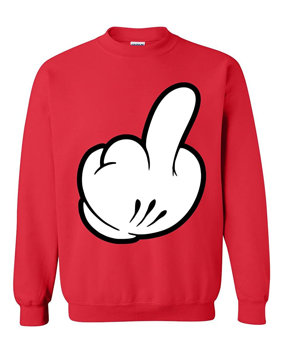 Cartoon Hands Middle Finger Vulgar Gesture Offensive Swag Crewneck Sweater