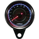 Audew Universal 13000 RPM Moto Compte-tours Tachymètre Gauge LED Rouge + Bleu Rétroéclairage Noir