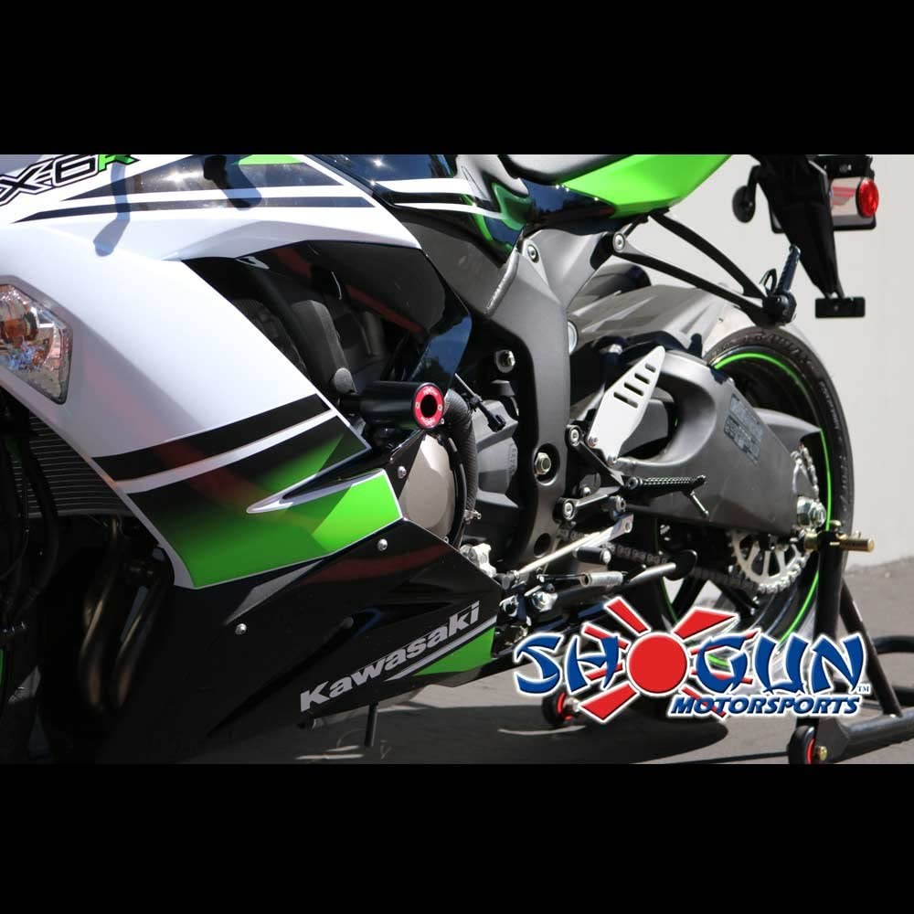 Shogun 2013-2018 Kawasaki ZX6R ZX636 ZX6RR Black PA2 No Cut Frame Sliders - 715-4449 - MADE IN THE USA