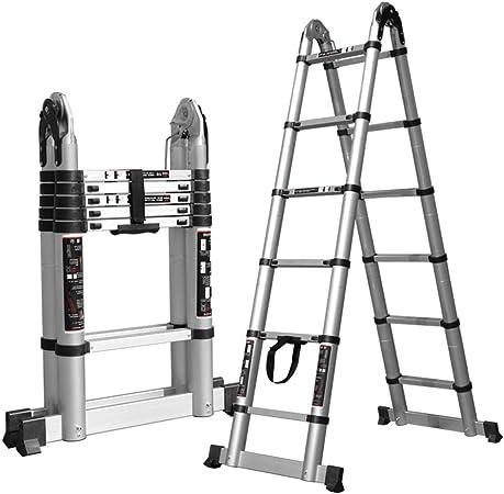 JGWJJ Escalera telescópica Escalera Multiusos de extensión telescópica de 12.4 pies de Aluminio con Mecanismo de Bloqueo Cargado con Resorte (Tamaño : 3.2m(10.4ft)): Amazon.es: Hogar