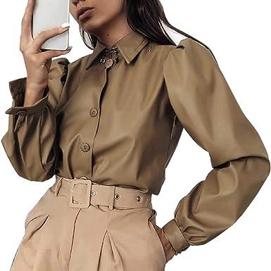 Mujer Camisa de Cuero Artificial Manga Larga Casual con Botones Camisa de Cuero Mate Color Liso Crop Tops Shirt S M L: Amazon.es: Ropa y accesorios