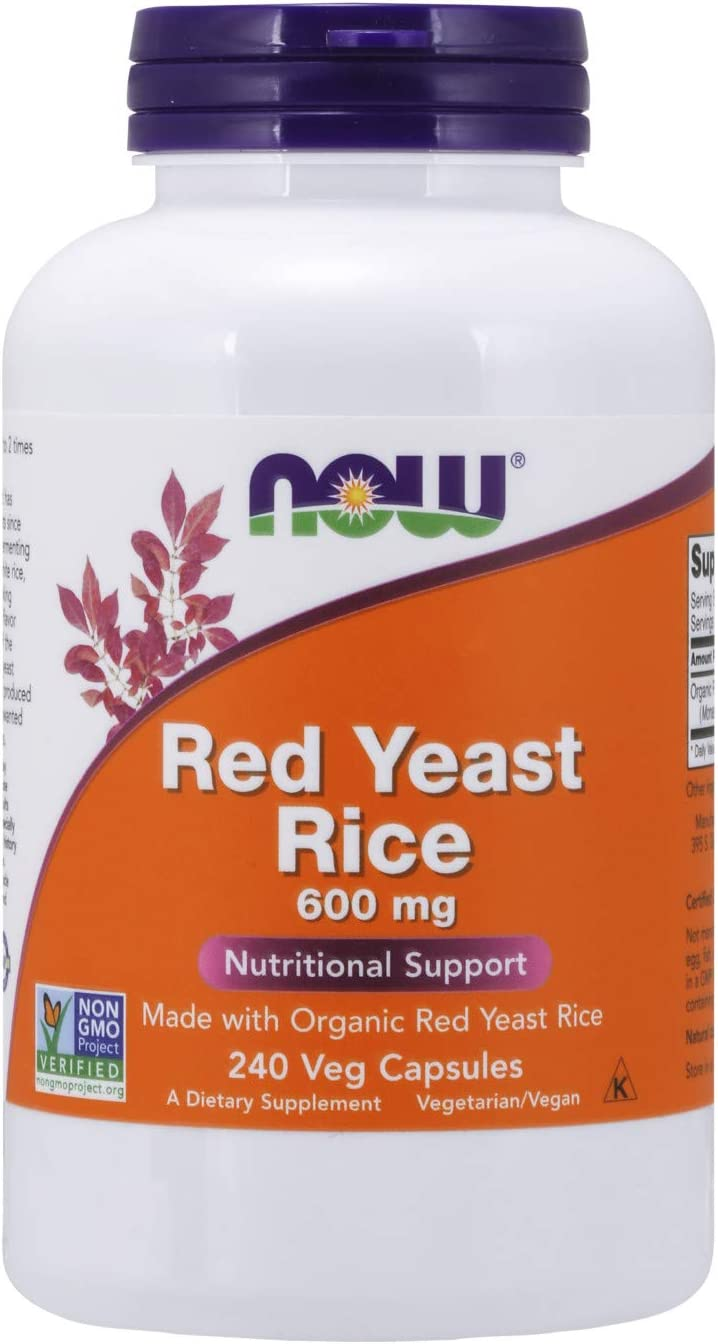 NOW Supplements, Red Yeast Rice 600 mg, Made with Organic Red Yeast Rice, 240 Veg Capsules