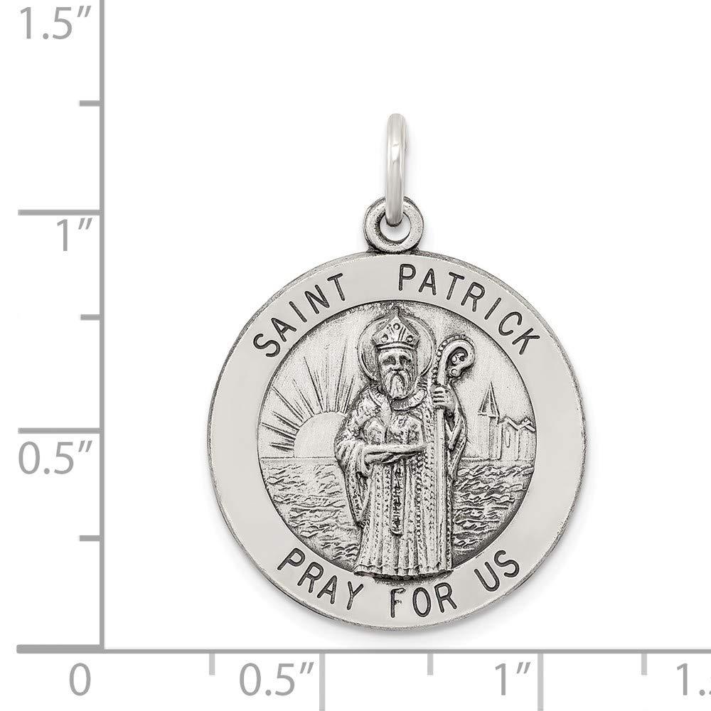 Sterling Silver Engravable Antiqued Saint Patrick Medal