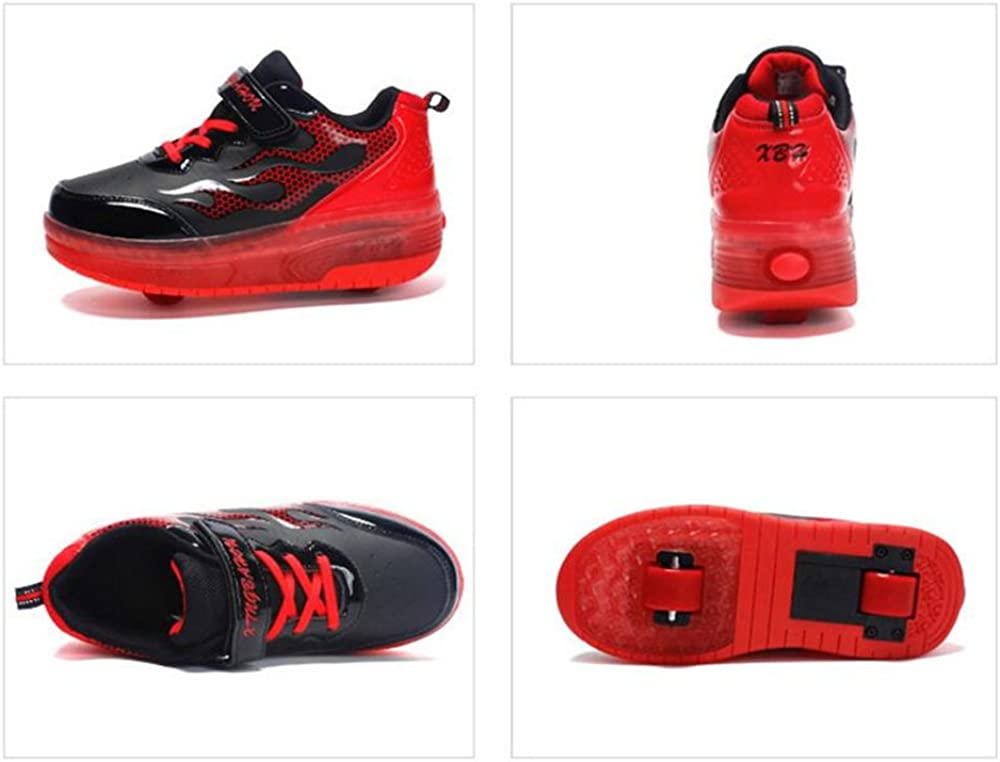 A2kmsmss5a Kids Rechargeable Wheelies Lightweight Fashion Sneakers LED Light Up Shoes Double Wheels Roller Skate Shoes
