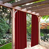 SeeSaw Home Mildew Resistant Thermal Insulated Outdoor Curtains/Draperies for Patio or Front Porch Eyelet Grommet, 100W By 84L Inch, 1 Panel, Red