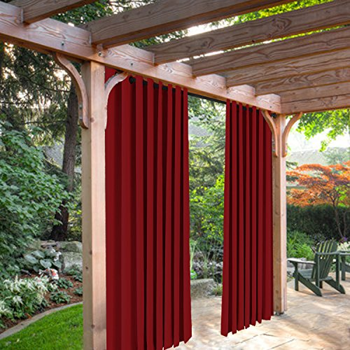 SeeSaw Home Mildew Resistant Thermal Insulated Outdoor Curtains/Draperies for Patio or Front Porch Eyelet Grommet, 100W By 84L Inch, 1 Panel, Red by SeeSaw Home