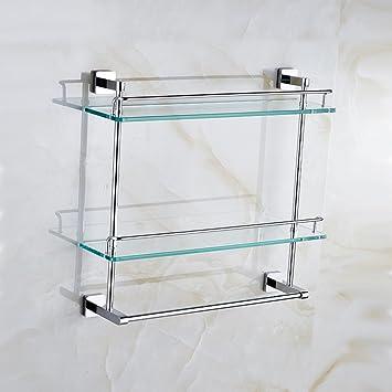 Baldas de baño Estante de latón toalla rieles estantes doble barra estante de vidrio templado estante de hardware de baño Garantizar la calidad (Tamaño ...