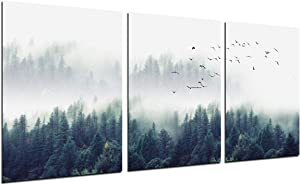 Foggy Forest Wall Art Painting - 3 Piece Misty Mountain Trees Landscape Decor Flying Birds Nature Poster Modern Picture Canvas Print Unframed 12''x16'' Home Office Kitchen Living Room Decoration