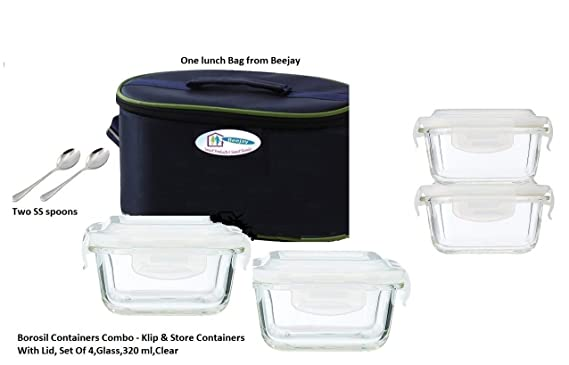 Borosil microwavable containers,320 ml Set of 4 with Free Lunch Bag from Beejay and 2 Spoons Lunch Boxes
