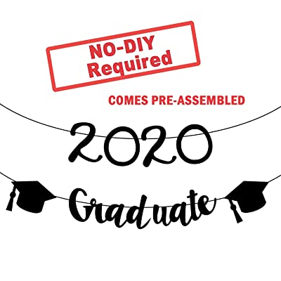 2020 Graduate Banner for College Grad Party - Assembled - College Graduation Party Supplies 2020 | Highschool, Senior Grad Party Gradution Banner | Graduation Decorations , No DIY | Felt Banner: Toys & Games