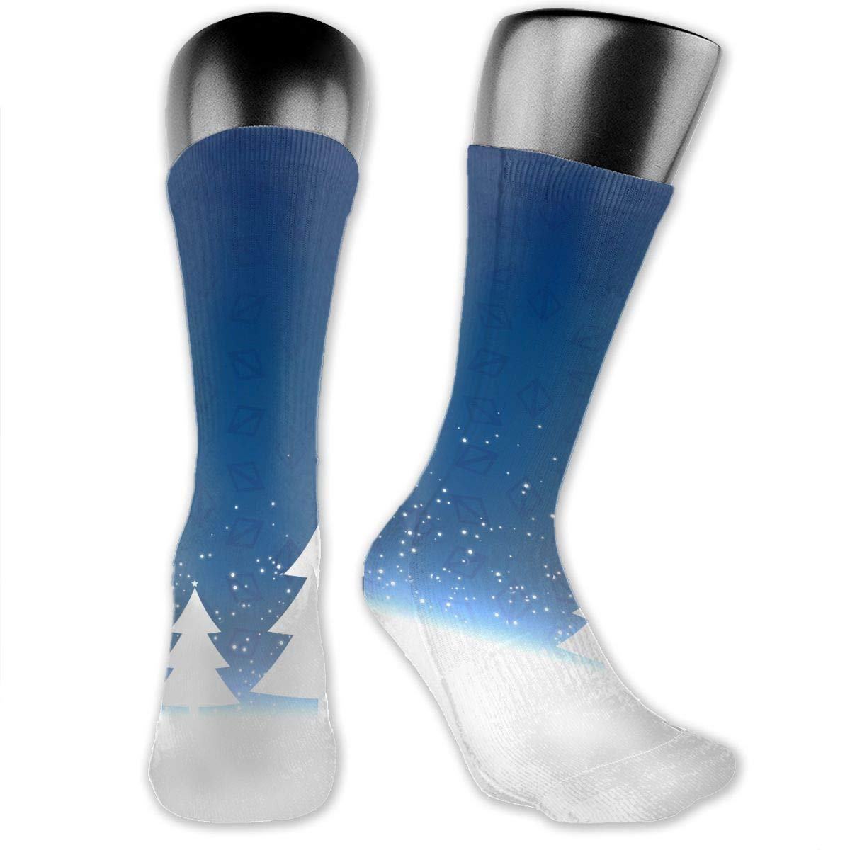 OLGCZM Blue Christmas with Three Trees Design Men Womens Thin High Ankle Casual Socks Fit Outdoor Hiking Trail