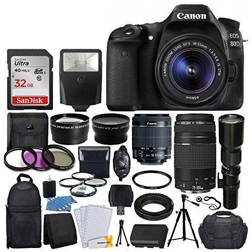 Canon EOS 80D DSLR Camera Body + Canon EF-S 18-55mm IS STM & EF 75-300mm III Lens + 58mm 2x Lens + Wide Angle Lens + 32GB Memory Card + Flash + Quality Tripod + 3 Piece UV Filter Kit + Value Bundle by PHOTO4LESS