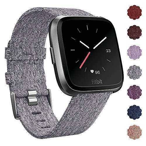 QIBOX Fitbit Versa Bands, Woven Fabric Wrist Strap Quick Release Watch Band with Classic Square Stainless Steel Buckle for Fitbit Versa Fitness Smart Watch(Gray)