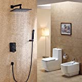 Jiuzhuo Modern Wall Mounted Rain Shower System& Handheld Shower Set Solid Brass,Black (12 Inch Shower Head)
