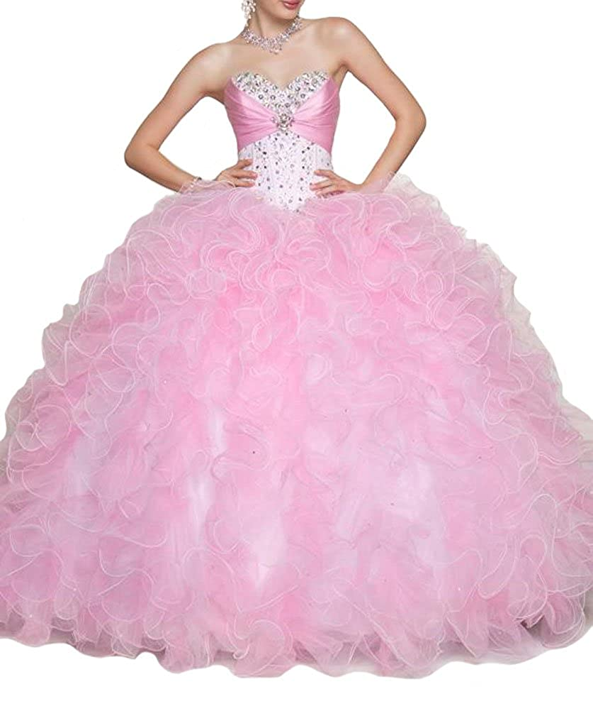invicto x tienda lo último Aisha Womens' Ruffles Crystal Ball Gown Vestidos Quinceanera Dress