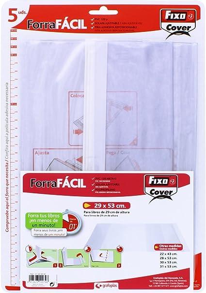 Fixo Cover 1009600-Pack de 5 forros para libros, ajustables, transparente, 29 x 53 cm: Amazon.es: Oficina y papelería