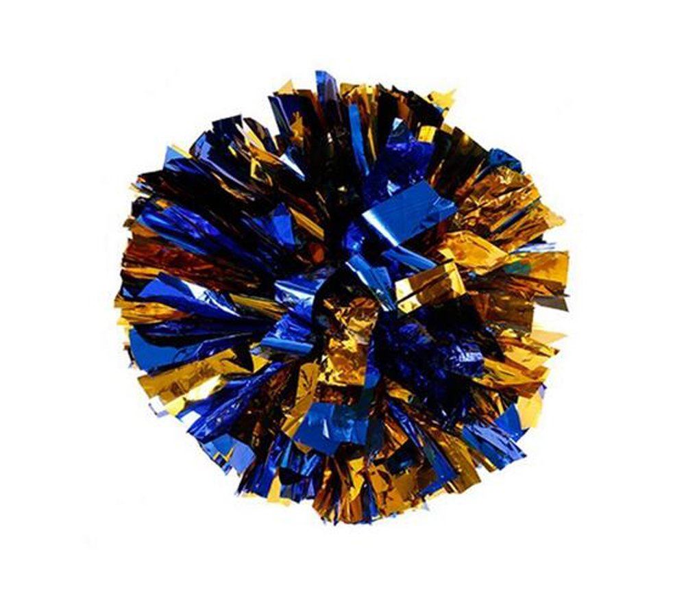 2 Of Plastic Cheerleader Cheerleading Pom Poms Metallic Foil & Plastic Ring Pom Sports Party Costume Accessory Set Ball Dance Fancy Dress Night Party Sports Pompoms (Blue+Gold) erioctry