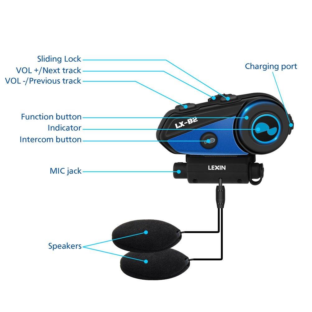 LEXIN 2x LX-B2 MotoF/õn BT Interphone Bluetooth Motorcycle Helmet Intercom Universal Wireless Headset Motorbike Communication System with Speakers headphones for Motorbike Skiing for Riders