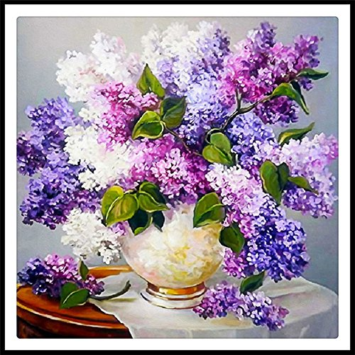 5D Full Drill Diamond Painting Kit Square Rhinestone Lavender Flowers DIY Embroidery Arts Craft Adults Childrens Paint Kits Cross Stitch for Home Decoration 16X16 inch (Lavender Flower)
