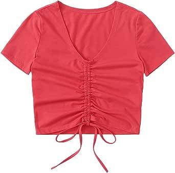 SheIn Women's V Neck Short Sleeve Drawstring Front Solid Crop Tops