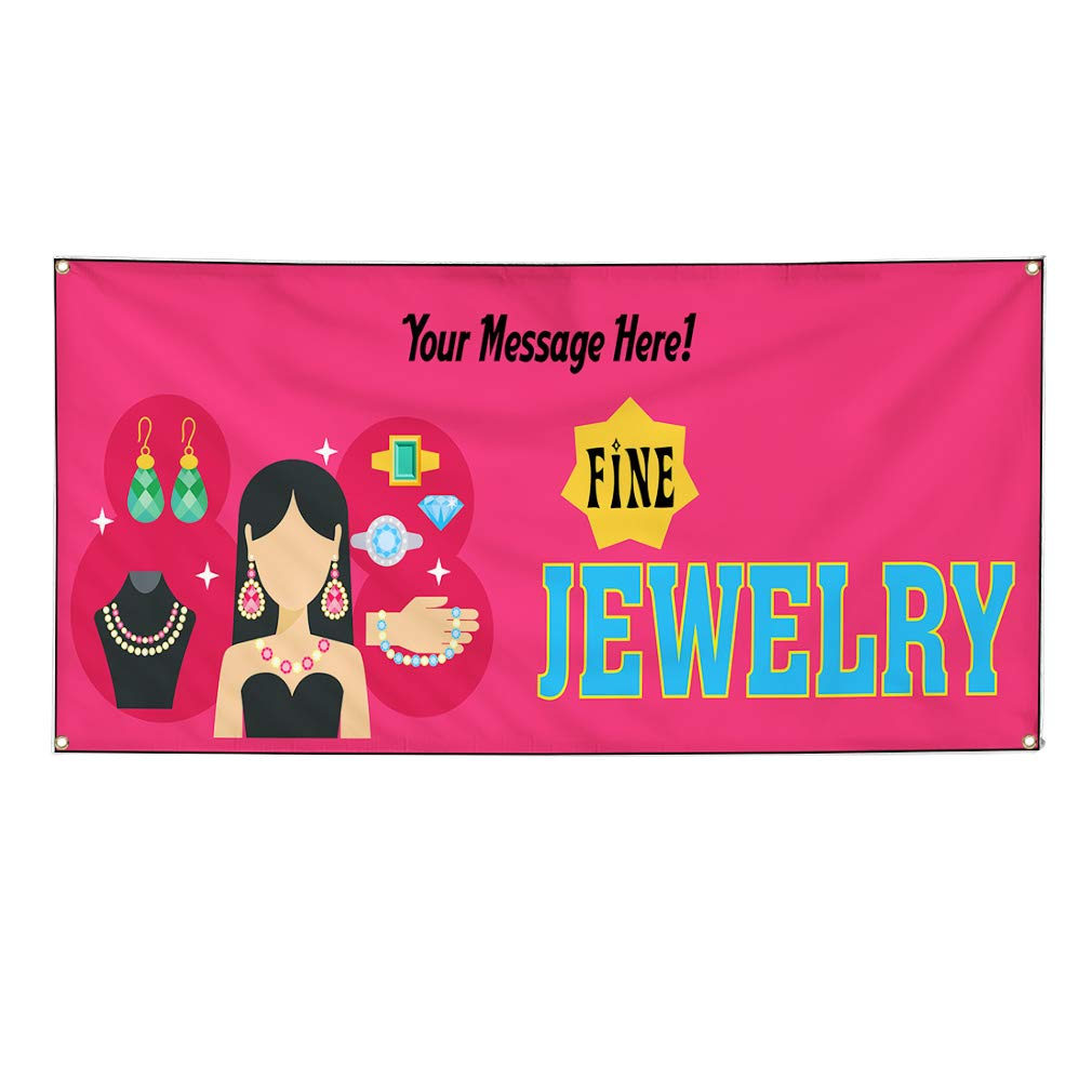 Custom Industrial Vinyl Banner Multiple Sizes Fine Jewelry Style A Personalized Text Here Business Outdoor Weatherproof Yard Signs Pink 8 Grommets 44x110Inches