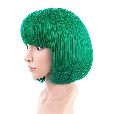 BESTUNG - Peluca corta recta para mujer, peluca verde, pelo sintético natural, estilo