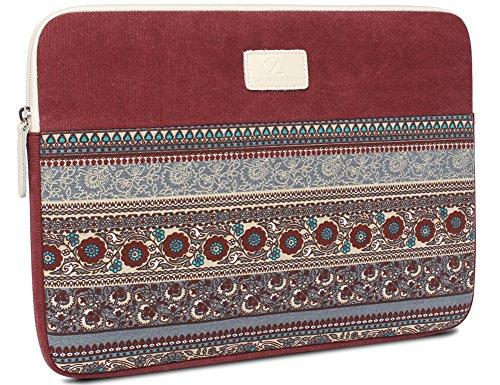 14 pulgadas de la manga del ordenador portátil, BLOOMSTAR bohemio lienzo protector del bolso del cuaderno de la computadora cubierta de la caja para MacBook Pro MacBook Air (horizontal, azul) Rojo horizontal