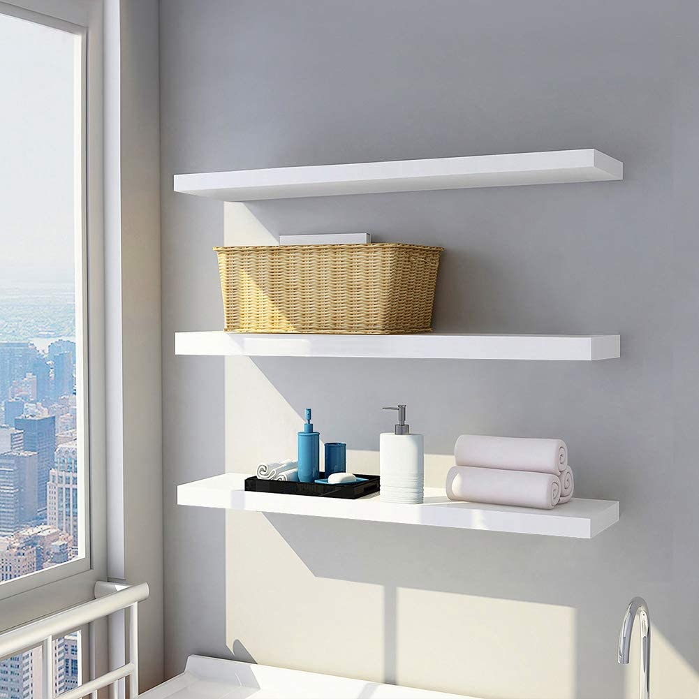 Wall Mounted Floating Shelves,Set of 3 White Floating Display Shelf Home Bedroom Decor Shelf with No Visible Install Screws,White.