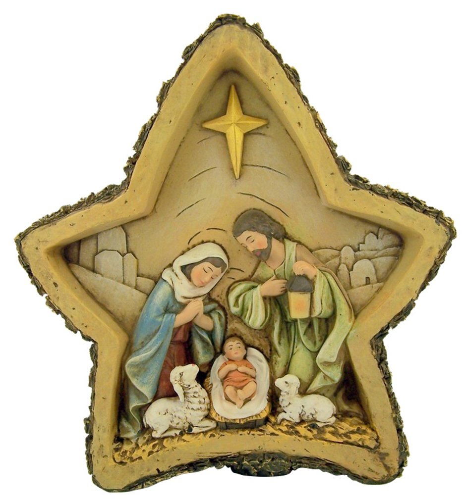 Avalon Gallery The Holy Family of Christ Woodgrain Resin Nativity Star Statue, 8 1/2 Inch