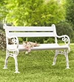 Weatherproof PVC Classic Outdoor Yard and Garden Bench with Scroll Arms, 43.5 L x 24 W x 33.5 H - White