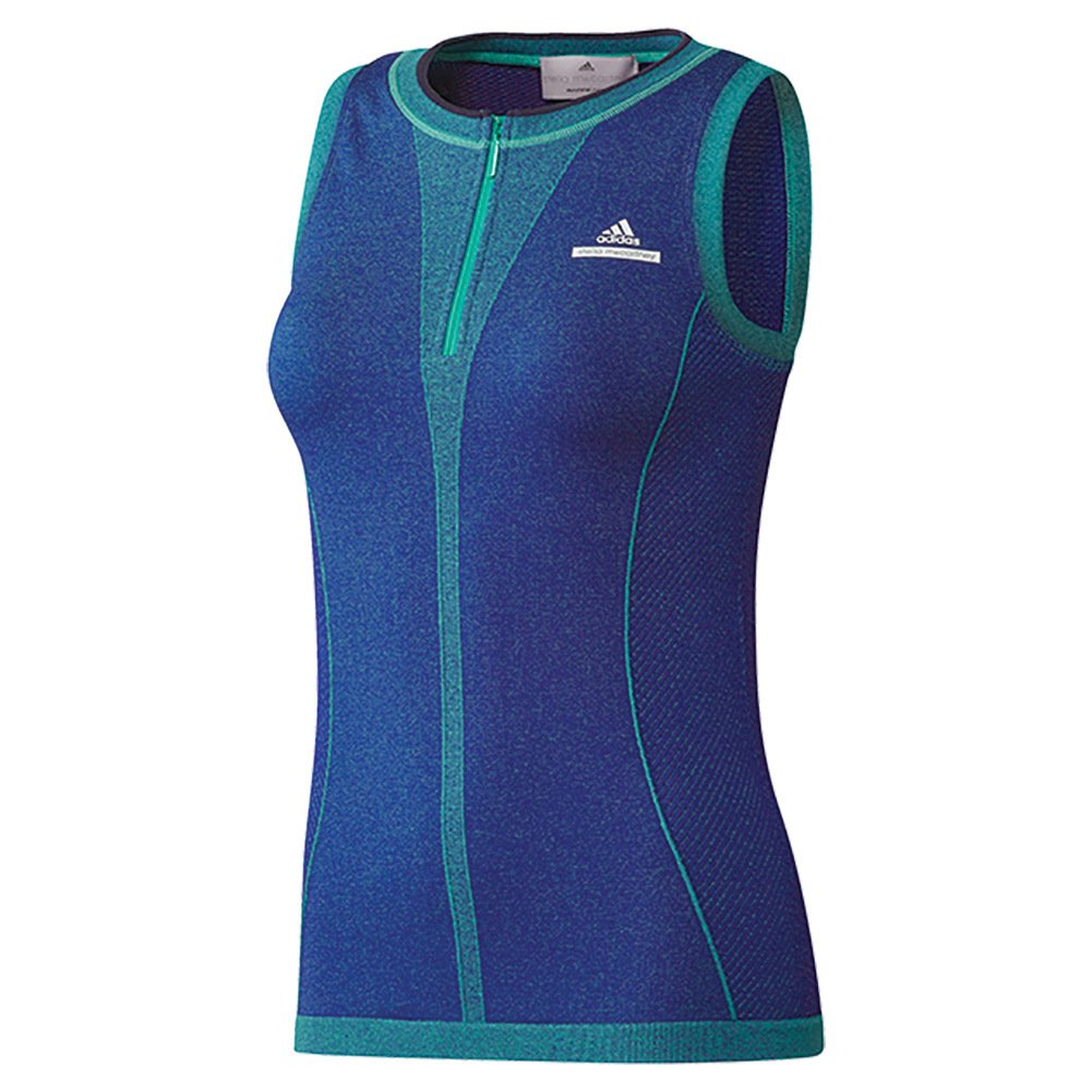 df2e9da878d2b Own your workout wearing the adidas® by Stella McCartney™ Barricade Tank Top.  Tight fit. Round neckline with quarter zip placket. Sleeveless construction.