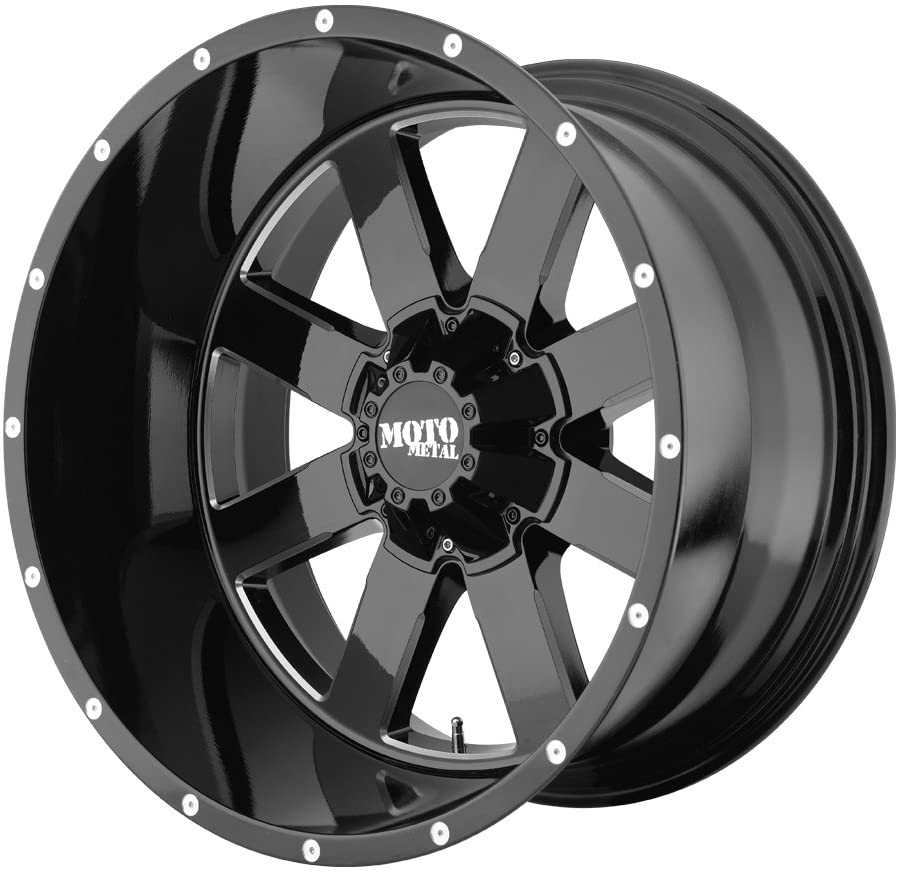 20x9//6x135mm, 0mm offset Moto Metal MO962 Gloss Black Wheel With Milled Accents