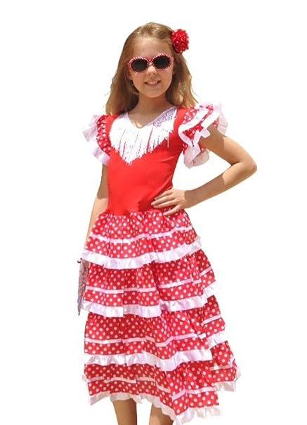 La Senorita Vestido Flamenco Español Traje de Flamenca chica/niños blanco rojo (Talla 10, 128-134 - 85 cm, 7/8 años, rojo)