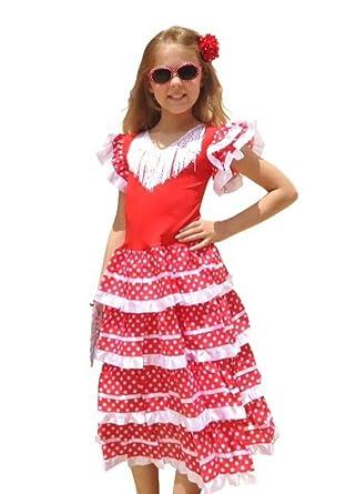 a8ed28fdb880 La Senorita Spanish Flamenco Dress - Girls/Kids - White/Red: Amazon.co.uk:  Clothing