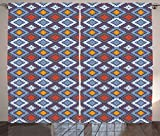 Tribal Curtains by Ambesonne, Mexican Traditional Motifs Native Cultural Line Art Design Geometrical Abstract, Living Room Bedroom Window Drapes 2 Panel Set, 108 W X 90 L Inches, Multicolor