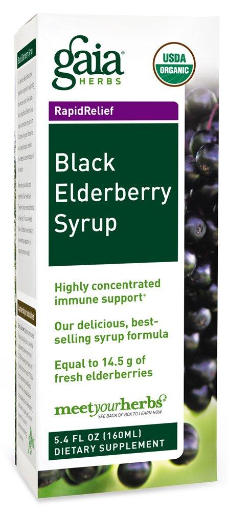 Gaia Herbs Black Elderberry Syrup, 5.4 Ounce - Daily Immune Support with Antioxidants, Organic Sambucus Elderberry Supplement