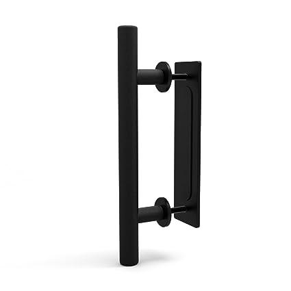 CCJH Tirador y tirador de puerta engastado en negro para puertas correderas de madera para portones