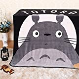 HOLY HOME Children's Throw Coral Flannel Blanket Coverlet Lightweight Anime Totoro 47''x59'' Gray