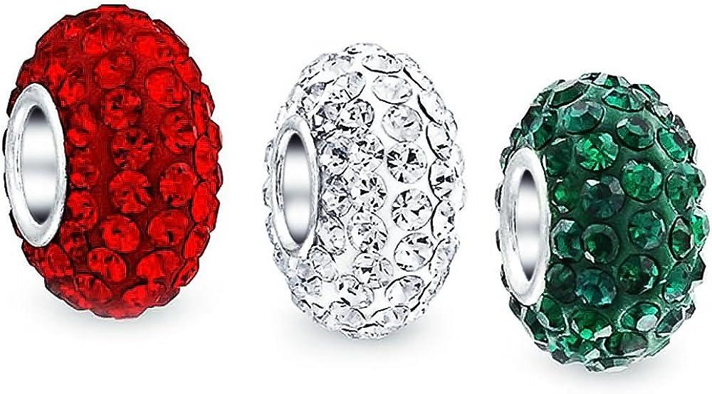 No/ël Rouge Blanc Vert Cristal M/élanger Paires 3 D/Écartement Charms Et Perles Femme Bracelet Europ/éen Argent Sterling