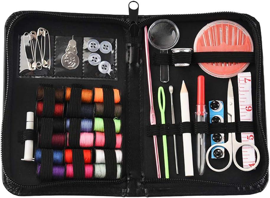 Kit de costura Accesorios de costura premium con estuche de PU,carretes de hilo Agujas de coser Kit de costura de viaje: Amazon.es: Hogar