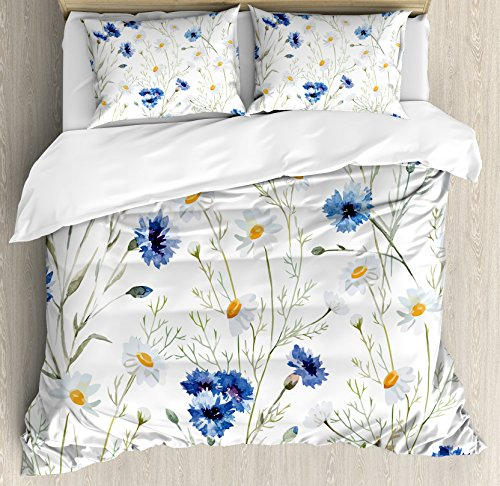 (Ambesonne Watercolor Flower Duvet Cover Set Queen Size, Wildflowers and Cornflowers Daisies Blooms Flower Buds, Decorative 3 Piece Bedding Set with 2 Pillow Shams, Blue Sage Green Marigold)