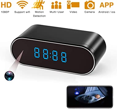 Black Hidden Spy Camera Clock HD 1080P IP Cameras with Night Vision//Motion Detection//Loop Recording Nanny Cam for Home Security Monitoring