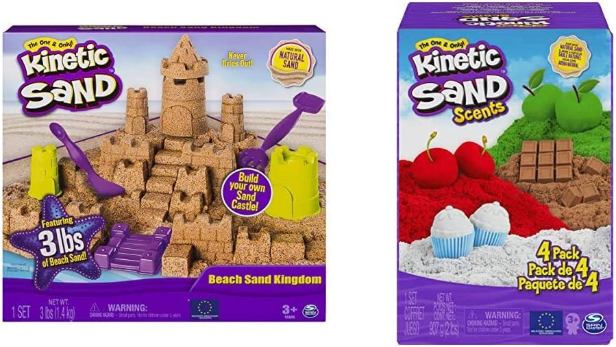 Kinetic Sand Beach Sand Kingdom Playset with 3lbs of Beach Sand, for Ages 3 and Up & Scents, 32oz 4-Pack of Cherry, Apple, Chocolate and Vanilla Scented