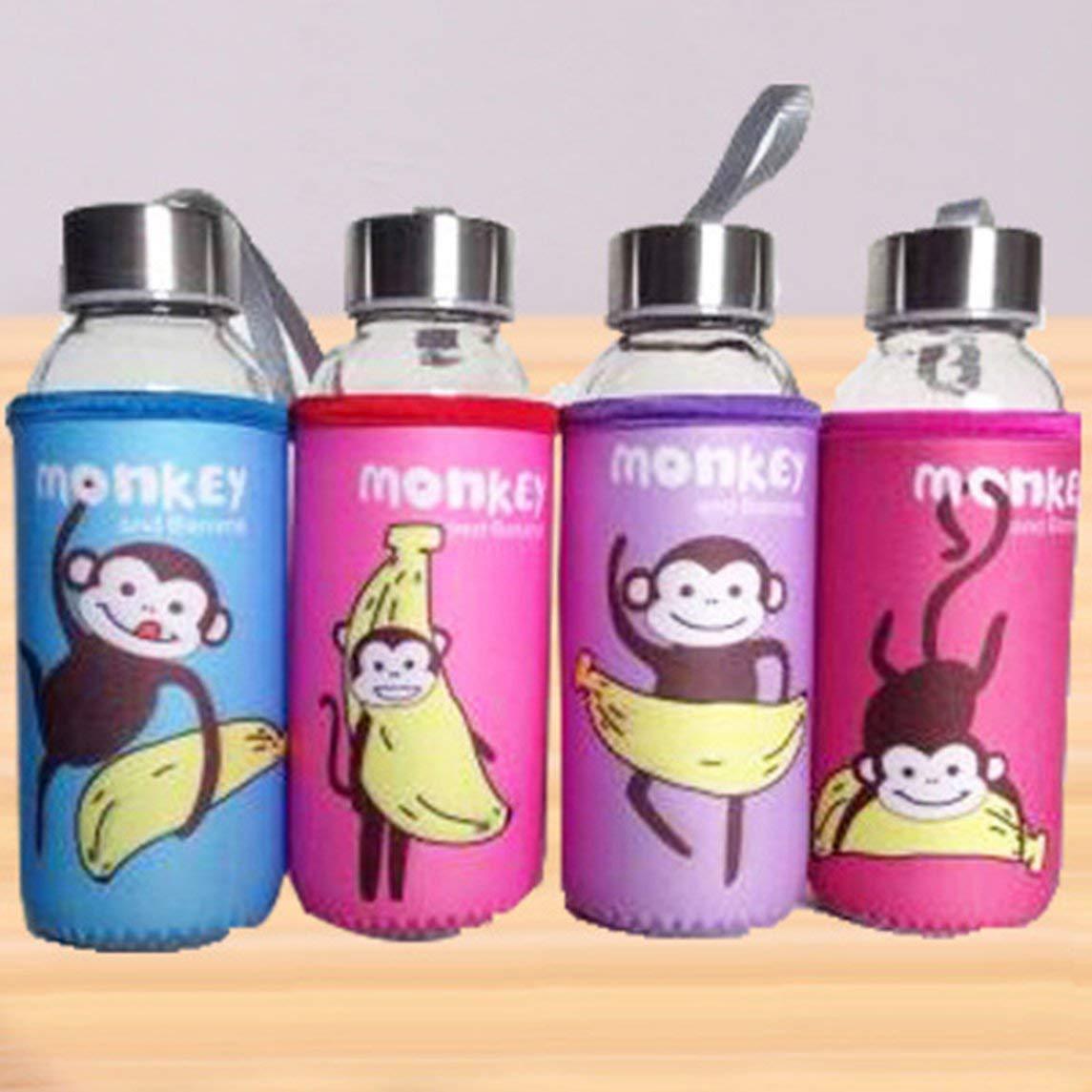 Footprintse Botella de Vidrio de Viaje al Aire Libre 300ml Botella de Agua de Vidrio de borosilicato Tapa de Acero Inoxidable a Prueba de Fugas con Manga de ...